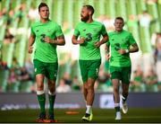 2 June 2018; Republic of Ireland players, from left, Kevin Long, David Meyler, and James McClean warm up prior to the International Friendly match between Republic of Ireland and the United States at the Aviva Stadium in Dublin. Photo by Stephen McCarthy/Sportsfile