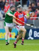2 June 2018; Mark Coleman of Cork in action against Graeme Mulcahy of Limerick during the Munster GAA Hurling Senior Championship Round 3 match between Cork and Limerick at Páirc Uí Chaoimh in Cork. Photo by Piaras Ó Mídheach/Sportsfile