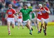 2 June 2018; Darragh O'Donovan of Limerick in action against Daniel Kearney, left, and Darragh Fitzgibbon of Cork during the Munster GAA Hurling Senior Championship Round 3 match between Cork and Limerick at Páirc Uí Chaoimh in Cork. Photo by Piaras Ó Mídheach/Sportsfile