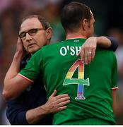 2 June 2018; Republic of Ireland manager Martin O'Neill embraces John O'Shea after he was substituted  during the International Friendly match between Republic of Ireland and the United States at the Aviva Stadium in Dublin. Photo by Stephen McCarthy/Sportsfile