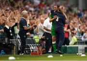 2 June 2018; John O'Shea of Republic of Ireland aembraces Republic of Ireland manager Martin O'Neill after being substituted during the International Friendly match between Republic of Ireland and the United States at the Aviva Stadium in Dublin. Photo by Eóin Noonan/Sportsfile