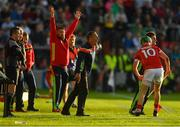 2 June 2018; Cork manager John Meyler, centre, appeals for a sideline ball during the Munster GAA Hurling Senior Championship Round 3 match between Cork and Limerick at Páirc Uí Chaoimh in Cork. Photo by Piaras Ó Mídheach/Sportsfile