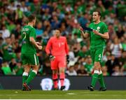 2 June 2018; John O'Shea of Republic of Ireland hands Seamus Coleman the captain's armband before being substituted during the International Friendly match between Republic of Ireland and the United States at the Aviva Stadium in Dublin. Photo by Seb Daly/Sportsfile