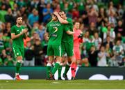 2 June 2018; John O'Shea of Republic of Ireland embraces Seamus Coleman before being substituted during the International Friendly match between Republic of Ireland and the United States at the Aviva Stadium in Dublin. Photo by Seb Daly/Sportsfile