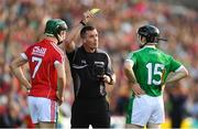 2 June 2018; Referee James Owens issues the yellow card to Mark Coleman of Cork and Graeme Mulcahy of Limerick during the Munster GAA Hurling Senior Championship Round 3 match between Cork and Limerick at Páirc Uí Chaoimh in Cork. Photo by Piaras Ó Mídheach/Sportsfile