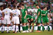 2 June 2018; James McClean of Republic of Ireland speaks to teammate Graham Burke before taking a free kick during the International Friendly match between Republic of Ireland and the United States at the Aviva Stadium in Dublin. Photo by Stephen McCarthy/Sportsfile