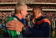 2 June 2018; Limerick manager John Kiely, left, and Cork manager John Meyler in conversation after the Munster GAA Hurling Senior Championship Round 3 match between Cork and Limerick at Páirc Uí Chaoimh in Cork. Photo by Piaras Ó Mídheach/Sportsfile