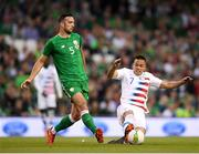 2 June 2018; Shane Duffy of Republic of Ireland in action against Bobby Wood of United States during the International Friendly match between Republic of Ireland and the United States at the Aviva Stadium in Dublin. Photo by Eóin Noonan/Sportsfile