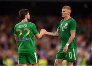 2 June 2018; James McClean, right, and Harry Arter of Republic of Ireland congratulate each other following their side's victory during the International Friendly match between Republic of Ireland and the United States at the Aviva Stadium in Dublin. Photo by Seb Daly/Sportsfile