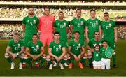 2 June 2018; The Republic of Ireland team, back row, from left, Shane Duffy, Colin Doyle, Jonathan Walters, Kevin Long, Declan Rice, Seamus Coleman, front row, from left, James McClean, Graham Burke, Callum O'Dowda, Jeff Hendrick, and John O'Shea prior to the International Friendly match between Republic of Ireland and the United States at the Aviva Stadium in Dublin. Photo by Stephen McCarthy/Sportsfile