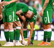 2 June 2018; James McClean speaks with his Republic of Ireland team-mate Graham Burke during the International Friendly match between Republic of Ireland and the United States at the Aviva Stadium in Dublin. Photo by Stephen McCarthy/Sportsfile