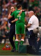 2 June 2018; John O'Shea of Republic of Ireland with manager Martin O'Neill as he leaves the pitch during a first half substitution during the International Friendly match between Republic of Ireland and the United States at the Aviva Stadium in Dublin. Photo by Stephen McCarthy/Sportsfile