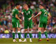 2 June 2018; James McClean speaks with his Republic of Ireland team-mate Callum O'Dowda, left, during the International Friendly match between Republic of Ireland and the United States at the Aviva Stadium in Dublin. Photo by Stephen McCarthy/Sportsfile