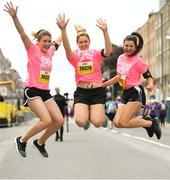 3 June 2018; Participants, from left, Clodagh, Siobhan and Dervla Kelly, from Banagher, Co. Offaly, at the 2018 Vhi Women's Mini Marathon. 30,000 women from all over the country took to the streets of Dublin to run, walk and jog the 10km route, raising much needed funds for hundreds of charities around the country. www.vhiwomensminimarathon.ie. Photo by Ramsey Cardy/Sportsfile