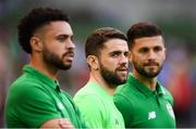 2 June 2018; Injured Republic of Ireland players, from left, Derrick Williams, Robbie Brady and Shane Long watch on during the International Friendly match between Republic of Ireland and the United States at the Aviva Stadium in Dublin. Photo by Stephen McCarthy/Sportsfile