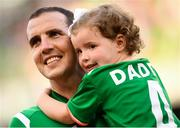 2 June 2018; John O'Shea of Republic of Ireland and daughter Ruby prior to the International Friendly match between Republic of Ireland and the United States at the Aviva Stadium in Dublin. Photo by Stephen McCarthy/Sportsfile