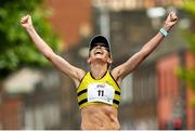 3 June 2018; Lizzie Lee of Leevale A.C., Co. Cork, celebrates winning the 2018 Vhi Women's Mini Marathon. 30,000 women from all over the country took to the streets of Dublin to run, walk and jog the 10km route, raising much needed funds for hundreds of charities around the country. www.vhiwomensminimarathon.ie. Photo by Ramsey Cardy/Sportsfile