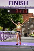 3 June 2018; Lizzie Lee of Leevale A.C., Co. Cork, celebrates winning the 2018 Vhi Women's Mini Marathon. 30,000 women from all over the country took to the streets of Dublin to run, walk and jog the 10km route, raising much needed funds for hundreds of charities around the country. www.vhiwomensminimarathon.ie. Photo by Sam Barnes/Sportsfile