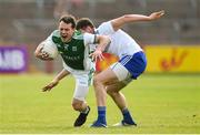 3 June 2018; Declan McCusker of Fermanagh in action against Darren Hughes of Monaghan during the Ulster GAA Football Senior Championship Semi-Final match between Fermanagh and Monaghan at Healy Park in Omagh, Co Tyrone. Photo by Oliver McVeigh/Sportsfile