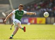 3 June 2018; Sean Quigley of Fermanagh scoring a point during the Ulster GAA Football Senior Championship Semi-Final match between Fermanagh and Monaghan at Healy Park in Omagh, Co Tyrone. Photo by Oliver McVeigh/Sportsfile