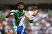 3 June 2018; Jack Mc Carron of Monaghan in action against Barry Mulrone of Fermanagh during the Ulster GAA Football Senior Championship Semi-Final match between Fermanagh and Monaghan at Healy Park in Omagh, Co Tyrone. Photo by Philip Fitzpatrick/Sportsfile