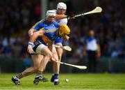 3 June 2018; Pádraic Maher of Tipperary, supported by team-mate Séamus Kennedy in action against Tom Devine of Waterford during the Munster GAA Senior Hurling Championship Round 3 match between Waterford and Tipperary at the Gaelic Grounds in Limerick. Photo by Piaras Ó Mídheach/Sportsfile