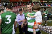 3 June 2018; Fermanagh manager Rory Gallagher celebrates with his son Seanie after the Ulster GAA Football Senior Championship Semi-Final match between Fermanagh and Monaghan at Healy Park in Omagh, Co Tyrone. Photo by Oliver McVeigh/Sportsfile