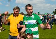 3 June 2018; Fermanagh manager Rory Gallagher with his father Gerry, left, after the Ulster GAA Football Senior Championship Semi-Final match between Fermanagh and Monaghan at Healy Park in Omagh, Co Tyrone. Photo by Oliver McVeigh/Sportsfile