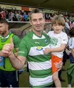 3 June 2018; Fermanagh manager Rory Gallagher with his son Seanie after the Ulster GAA Football Senior Championship Semi-Final match between Fermanagh and Monaghan at Healy Park in Omagh, Co Tyrone. Photo by Oliver McVeigh/Sportsfile