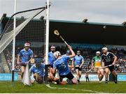 3 June 2018; Eoghan O'Donnell and Shane Barrett of Dublin combine to save a goal on the line during the Leinster GAA Hurling Senior Championship Round 4 match between Dublin and Offaly at Parnell Park, Dublin. Photo by Seb Daly/Sportsfile
