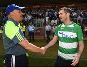 3 June 2018; Monaghan manager Malachy O'Rourke shakes-hands with Fermanagh manager Rory Gallagher after the Ulster GAA Football Senior Championship Semi-Final match between Fermanagh and Monaghan at Healy Park in Omagh, Co. Tyrone. Photo by Philip Fitzpatrick/Sportsfile
