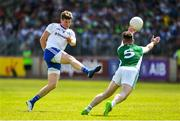 3 June 2018; Darren Hughes of Monaghan in action against Barry Mulrone of Fermanagh during the Ulster GAA Football Senior Championship Semi-Final match between Fermanagh and Monaghan at Healy Park in Omagh, Co Tyrone. Photo by Oliver McVeigh/Sportsfile