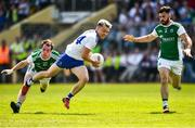 3 June 2018; Conor McCarthy of Monaghan in action against Ruairi Corrigan and Kane Connor of Fermanagh during the Ulster GAA Football Senior Championship Semi-Final match between Fermanagh and Monaghan at Healy Park in Omagh, Co Tyrone. Photo by Oliver McVeigh/Sportsfile