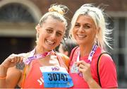 3 June 2018; Participants Anya Anna, left, and Christina Denise, from Dublin, following the 2018 Vhi Women's Mini Marathon. 30,000 women from all over the country took to the streets of Dublin to run, walk and jog the 10km route, raising much needed funds for hundreds of charities around the country. www.vhiwomensminimarathon.ie Photo by Ramsey Cardy/Sportsfile