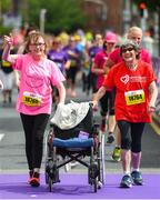 3 June 2018; Participants Martina Hand, with her Mother Betty, who completed her 36th consecutive Women's Mini Marathon, from Blachardstown, Dublin, following the 2018 Vhi Women's Mini Marathon. 30,000 women from all over the country took to the streets of Dublin to run, walk and jog the 10km route, raising much needed funds for hundreds of charities around the country. www.vhiwomensminimarathon.ie Photo by Ramsey Cardy/Sportsfile