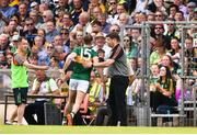 3 June 2018; James O'Donoghue of Kerry gets a pat on the back from his manager Eamonn Fitzmaurice as he leaves the field during the Munster GAA Football Senior Championship semi-final match between Kerry and Clare at Fitzgerald Stadium in Killarney, Kerry. Photo by Matt Browne/Sportsfile