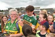 3 June 2018; David Clifford of Kerry signs an autograph for Josie Cassidy from Rathmore Co. Kerry after the Munster GAA Football Senior Championship semi-final match between Kerry and Clare at Fitzgerald Stadium in Killarney, Kerry. Photo by Matt Browne/Sportsfile
