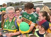 3 June 2018; David Clifford of Kerry signs an autograph for Josie Cassidy from Rathmore, Co. Kerry, after the Munster GAA Football Senior Championship semi-final match between Kerry and Clare at Fitzgerald Stadium in Killarney, Kerry. Photo by Matt Browne/Sportsfile