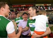 3 June 2018; Fermanagh manager Rory Gallagher celebrates with his son Seanie and Che Cullen of Fermanagh after the Ulster GAA Football Senior Championship Semi-Final match between Fermanagh and Monaghan at Healy Park in Omagh, Co Tyrone. Photo by Oliver McVeigh/Sportsfile
