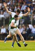 3 June 2018; Eoin Donnelly of Fermanagh in action against Darren Hughes of Monaghan during the Ulster GAA Football Senior Championship Semi-Final match between Fermanagh and Monaghan at Healy Park in Omagh, Co Tyrone. Photo by Oliver McVeigh/Sportsfile