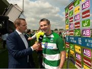 3 June 2018; Fermanagh manager Rory Gallagher being interviewed after the Ulster GAA Football Senior Championship Semi-Final match between Fermanagh and Monaghan at Healy Park in Omagh, Co Tyrone. Photo by Oliver McVeigh/Sportsfile