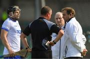 3 June 2018; Philip Mahony of Waterford looks on as referee Alan Kelly talks to his umpires after Austin Gleeson was adjudged to have carried the ball over the line, and a goal was given, during the Munster GAA Senior Hurling Championship Round 3 match between Waterford and Tipperary at the Gaelic Grounds in Limerick. Photo by Piaras Ó Mídheach/Sportsfile