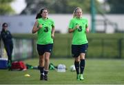 4 June 2018; Niamh Fahey and Diane Caldwell, right, during Republic of Ireland training at the FAI National Training Centre in Abbotstown, Dublin. Photo by Stephen McCarthy/Sportsfile