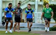 5 June 2018; Ireland's Bundee Aki, left, arrives with, from left, assistant coach Jared Payne, and team-mates Kieran Marmion and Andrew Porter for Ireland rugby squad training at Royal Pines Resort in Queensland, Australia. Photo by Brendan Moran/Sportsfile