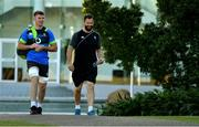 5 June 2018; Peter O'Mahony, left, arrives with Defence coach Andy Farrell for Ireland rugby squad training at Royal Pines Resort in Queensland, Australia. Photo by Brendan Moran/Sportsfile