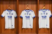 3 June 2018; A general view of the jerseys of Waterford players, from left, DJ Foran, Stephen Bennett and Tom Devine in the dressing room before the Munster GAA Senior Hurling Championship Round 3 match between Waterford and Tipperary at the Gaelic Grounds in Limerick. Photo by Piaras Ó Mídheach/Sportsfile