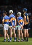 3 June 2018; Tipperary players, from left, Michael Cahill, Séamus Kennedy, Seán O'Brien and Brian Hogan stand for Amhrán na bhFiann before the Munster GAA Senior Hurling Championship Round 3 match between Waterford and Tipperary at the Gaelic Grounds in Limerick. Photo by Piaras Ó Mídheach/Sportsfile