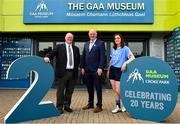 5 June 2018; Celebrating the launch of the new '20 Years' annual exhibition at the GAA Museum are Uachtarán Chumann Lúthchleas Gael John Horan, centre, with Croke Park Steward Tom Ryan, left, and Dublin Camogie player and GAA Museum Tour Guide Eve O'Brien in Croke Park, Dublin. The exhibition traces the key moments in GAA and Croke Park history over the past 20 years since the GAA Museum first opened its doors in 1998. Topics covered include the Croke Park redevelopment, the deletion of Rule 21, the suspension of Rule 42 that paved the way for international rugby and soccer to be played in Croke Park, the Special Olympics World Summer Games in 2003 and the GAA 125 festivities in 2009. The exhibition also serves as the throw-in for the GAA Museum's anniversary programme of events. Details of all the museum's celebratory activities can be found at www.crokepark.ie/gaamuseum.  Photo by Sam Barnes/Sportsfile