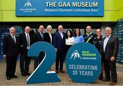 5 June 2018; Celebrating the launch of the new '20 Years' annual exhibition at the GAA Museum are, from left,  Croke Park Chief Steward Michael Leddy, Croke Park Steward Tom Ryan, former Kerry player and GAA Museum Hall of Fame Inductee, Jack O'Shea, GAA Museum Curataor Joanne Clarke, Uachtarán Chumann Lúthchleas Gael John Horan, GAA Museum Director Niamh McCoy, Dublin camogie player and GAA Museum Tour Guide Eve O'Brien, GAA Museum Senior Tour Guide Cian Nolan, Referee David Coldrick and former Meath manager Sean Boylan, at Croke Park in Dublin. The exhibition traces the key moments in GAA and Croke Park history over the past 20 years since the GAA Museum first opened its doors in 1998. Topics covered include the Croke Park redevelopment, the deletion of Rule 21, the suspension of Rule 42 that paved the way for international rugby and soccer to be played in Croke Park, the Special Olympics World Summer Games in 2003 and the GAA 125 festivities in 2009. The exhibition also serves as the throw-in for the GAA Museum's anniversary programme of events. Details of all the museum's celebratory activities can be found at www.crokepark.ie/gaamuseum.  Photo by Sam Barnes/Sportsfile