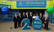 5 June 2018; Celebrating the launch of the new '20 Years' annual exhibition at the GAA Museum are, from left, Croke Park Chief Steward Michael Leddy, Croke Park Steward Tom Ryan, former Kerry player and GAA Museum Hall of Fame Inductee, Jack O'Shea, GAA Museum Curataor Joanne Clarke, Uachtarán Chumann Lúthchleas Gael John Horan, GAA Museum Director Niamh McCoy, Dublin camogie player and GAA Museum Tour Guide Eve O'Brien, GAA Museum Senior Tour Guide, Cian Nolan, Referee David Coldrick and former Meath manager Sean Boylan, at Croke Park in Dublin. The exhibition traces the key moments in GAA and Croke Park history over the past 20 years since the GAA Museum first opened its doors in 1998. Topics covered include the Croke Park redevelopment, the deletion of Rule 21, the suspension of Rule 42 that paved the way for international rugby and soccer to be played in Croke Park, the Special Olympics World Summer Games in 2003 and the GAA 125 festivities in 2009. The exhibition also serves as the throw-in for the GAA Museum's anniversary programme of events. Details of all the museum's celebratory activities can be found at www.crokepark.ie/gaamuseum.  Photo by Sam Barnes/Sportsfile